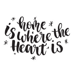 Inspirational quote home is where the heart is vector