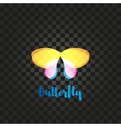 Isolated yellow and pink butterfly logo vector