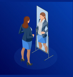 Isometric business woman adjusting tie in front of vector