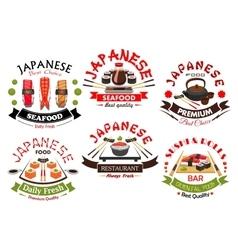 Japanese sushi bar or restaurant symbol set vector image