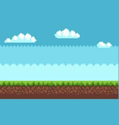 landscape pixel art style blue sky white clouds vector image