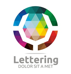 Lettering v rainbow alphabet design vector