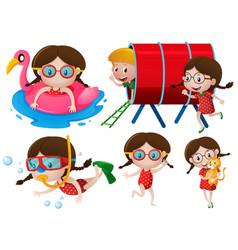 little girls doing many activities vector image