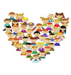 love heart with children vector image