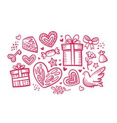 love wedding concept set of decorative elements vector image
