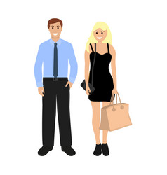 male businessman and blond sexy woman vector image