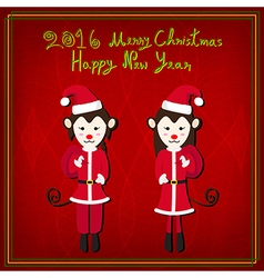 Merry christmas monkey santa red background vector