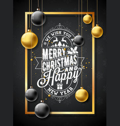 Merry christmas on black vector