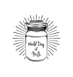 milk can in beams world day of milk lettering vector image