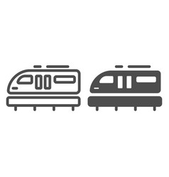 Monorail train line and solid icon transportation vector