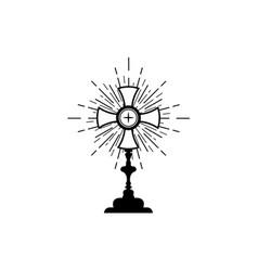 Monstrance ostensorium used in roman catholic sign vector