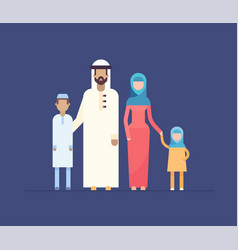 Muslim family - modern flat design style vector