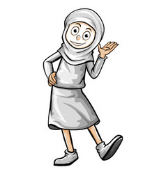muslim woman in white outfit vector image