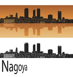 Nagoya skyline in orange vector