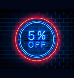 Neon 5 off text banner night sign vector