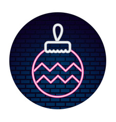 neon ball decoration sticker merry christmas vector image