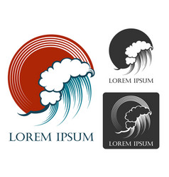 ocean wave emblem in engraving style vector image