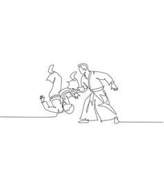 One continuous line drawing young man aikido vector