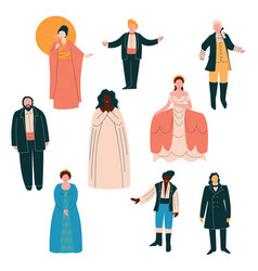 opera singers set male and female singers in vector image