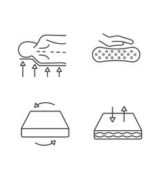orthopedic mattress linear icons set vector image