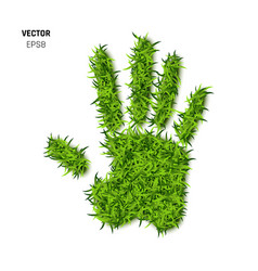 palm print made of green grass vector image