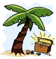 Palm tree and pirate chest on the seashore vector image