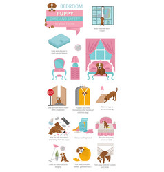 Puppy care and safety in your home bedroom pet vector