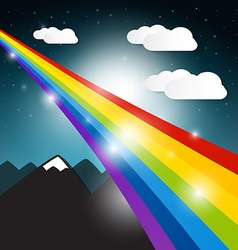Rainbow with Clouds and Mountains on Night Sky vector