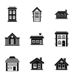 Residence icons set simple style vector