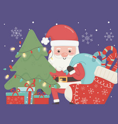 santa with bag tree gifts and sock merry christmas vector image
