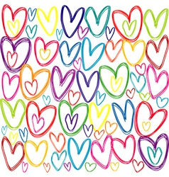 Seamless pattern with colored doodle hearts vector image