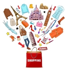 Shopping Europe Travel Composition vector