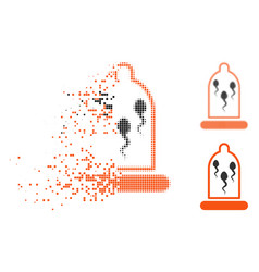 Shredded pixel halftone sperm in condom icon vector
