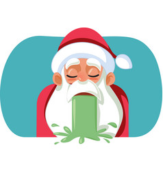 sick santa claus throwing up on christmas vector image