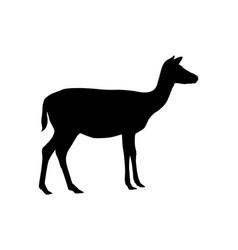 Small sika deer black silhouette vector