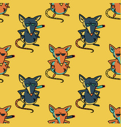 Smoking mouse seamless pattern vector