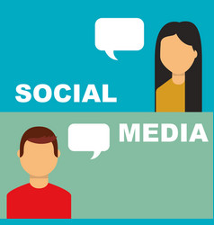 social media banner people speech bubble talking vector image