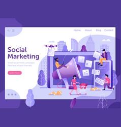 social media digital marketing flat web banner vector image
