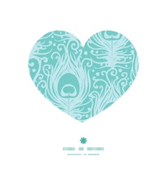 Soft peacock feathers heart silhouette pattern vector