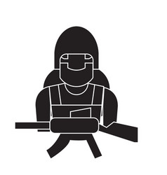 soldier equipment black concept icon vector image