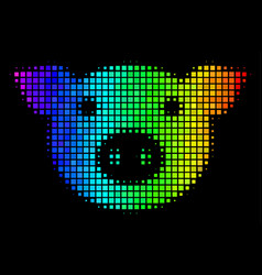 Spectral colored dot pig head icon vector