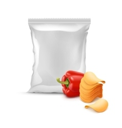 Stack of Chips with Paprika and Plastic Foil Bag vector