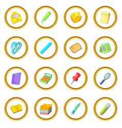 Stationery icons circle vector