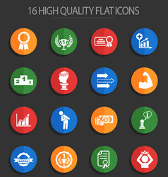 Success 16 flat icons vector
