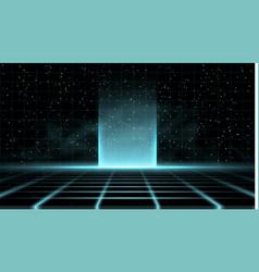 Synthwave vaporwave retrowave blue background vector