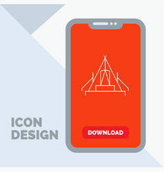 Tent camping camp campsite outdoor line icon in vector