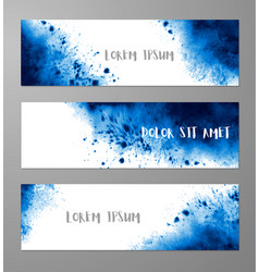three banners with abstract vibrant blue ink wash vector image