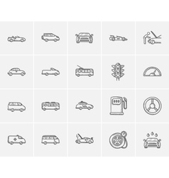 Transportation sketch icon set vector