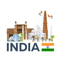 travel to india skyline taj mahal vector image