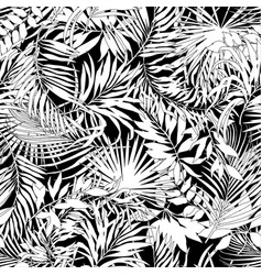 Tropical leaves in black and white vector